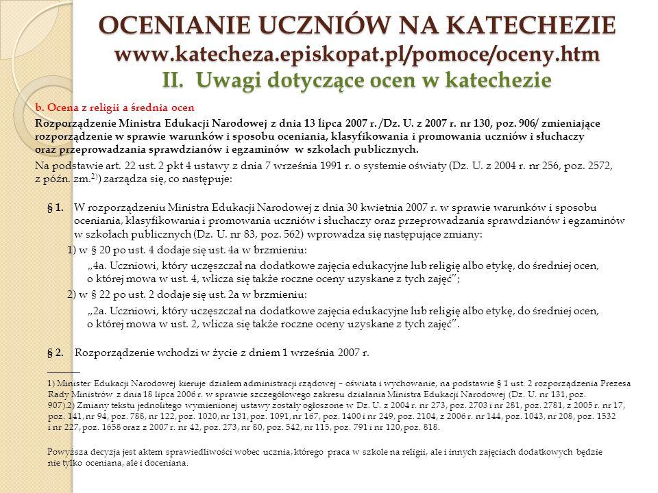 Ocenianie uczniów na katechezie www. katecheza. episkopat