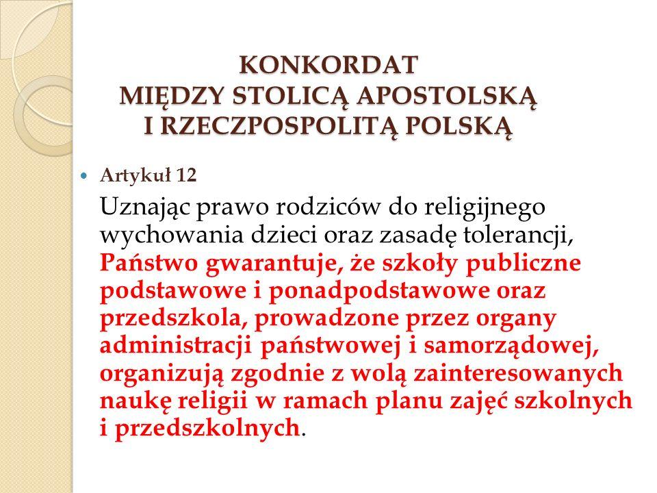 KONKORDAT MIĘDZY STOLICĄ APOSTOLSKĄ I RZECZPOSPOLITĄ POLSKĄ