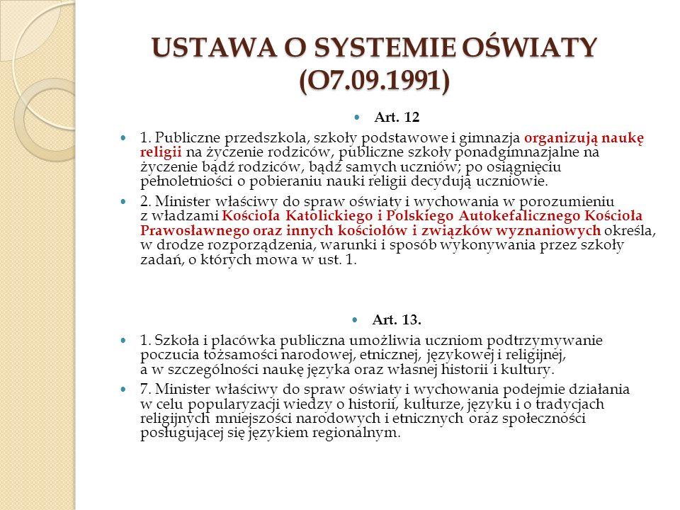 Ustawa o systemie oświaty (o7.09.1991)