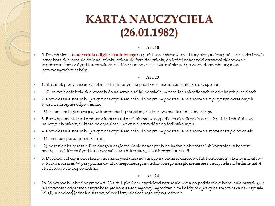 Karta Nauczyciela (26.01.1982) Art. 18.