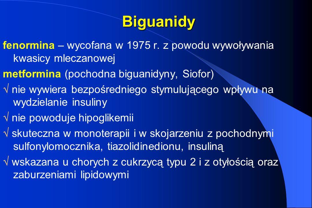 Biguanidy fenormina – wycofana w 1975 r. z powodu wywoływania kwasicy mleczanowej. metformina (pochodna biguanidyny, Siofor)