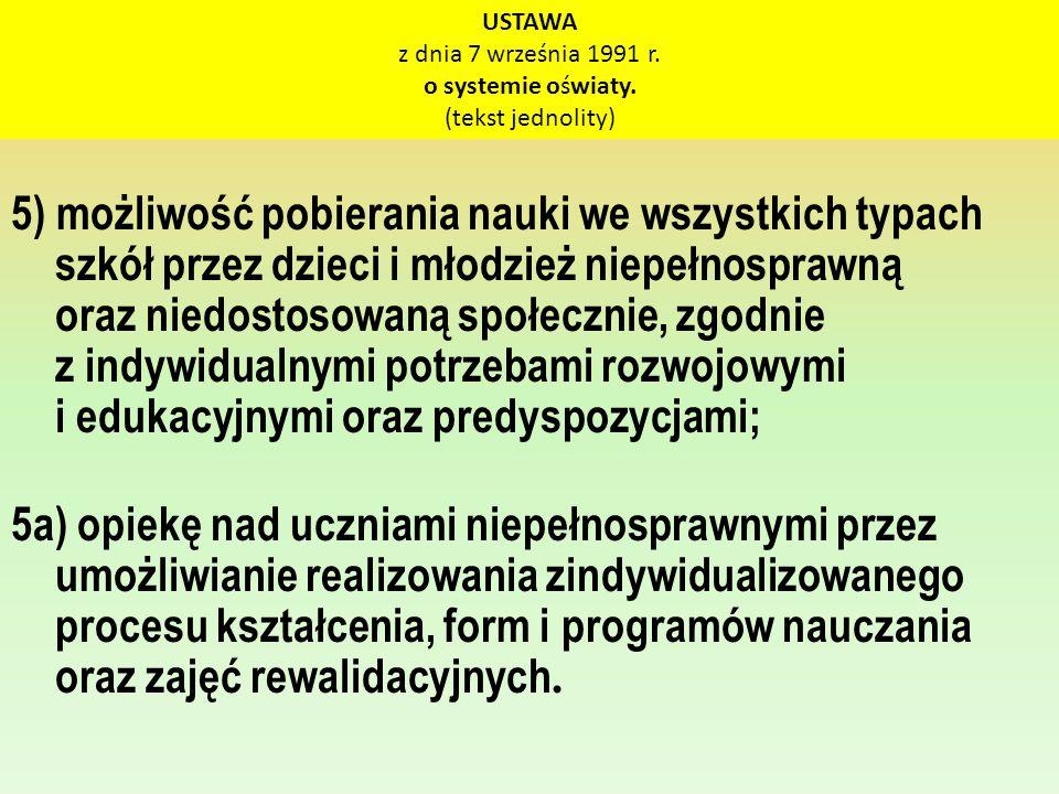 USTAWA z dnia 7 września 1991 r. o systemie oświaty. (tekst jednolity)