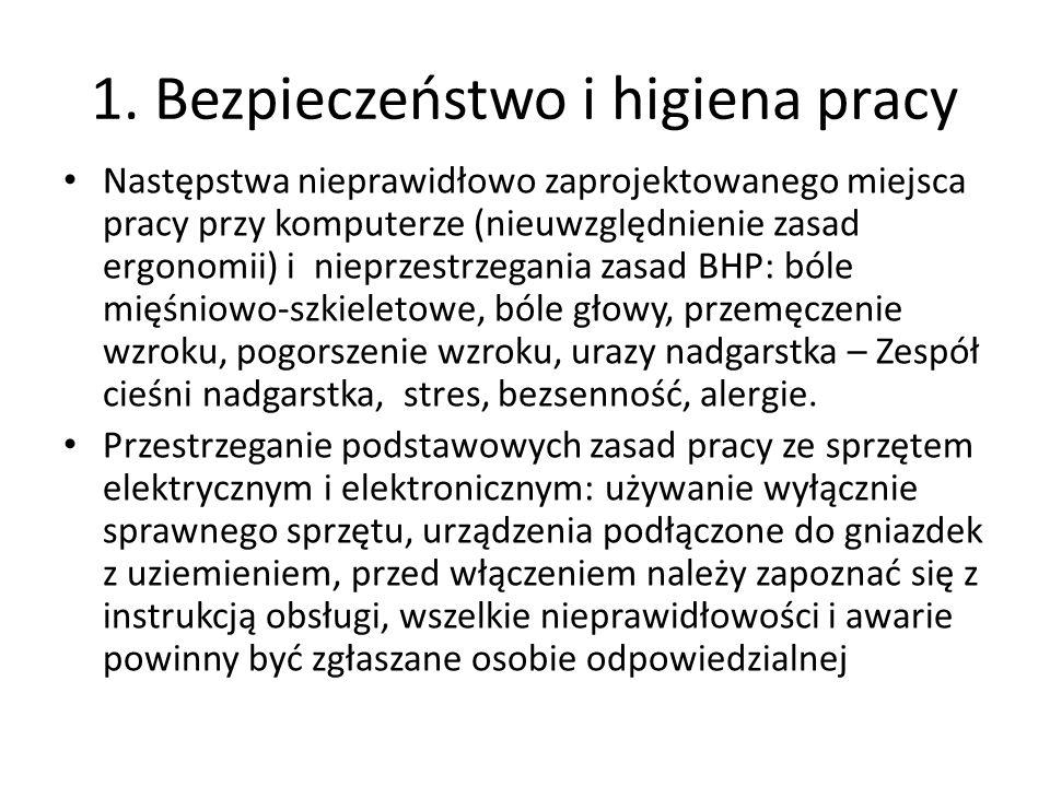 1. Bezpieczeństwo i higiena pracy