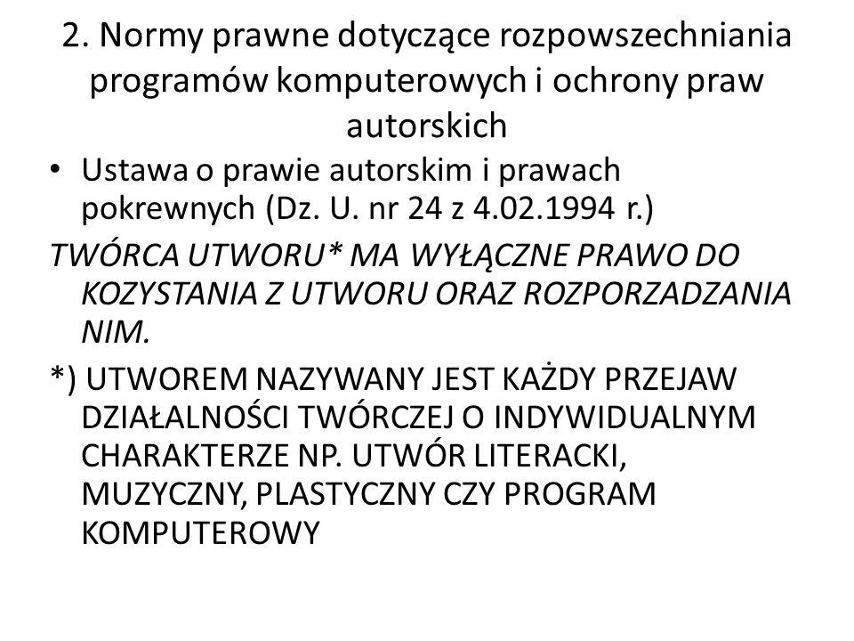 2. Normy prawne dotyczące rozpowszechniania programów komputerowych i ochrony praw autorskich