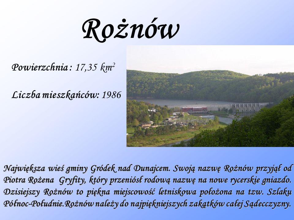 Rożnów Powierzchnia : 17,35 km2 Liczba mieszkańców: 1986
