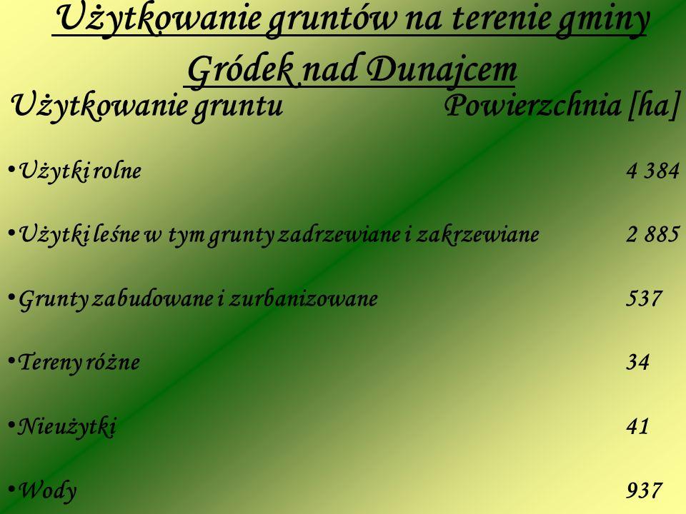 Użytkowanie gruntów na terenie gminy Gródek nad Dunajcem