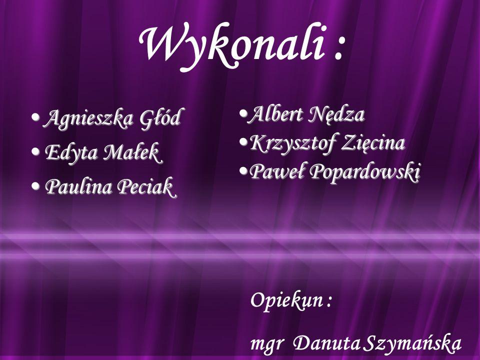 Wykonali : Albert Nędza Agnieszka Głód Krzysztof Zięcina Edyta Małek