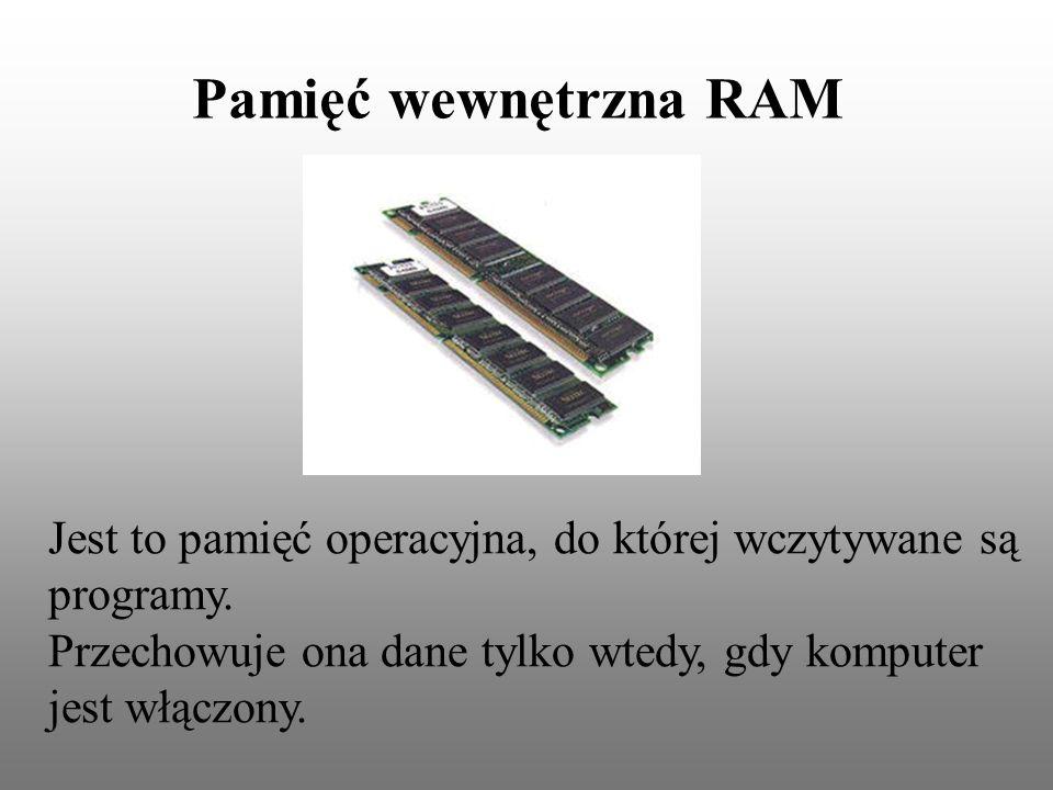Pamięć wewnętrzna RAM Jest to pamięć operacyjna, do której wczytywane są programy.