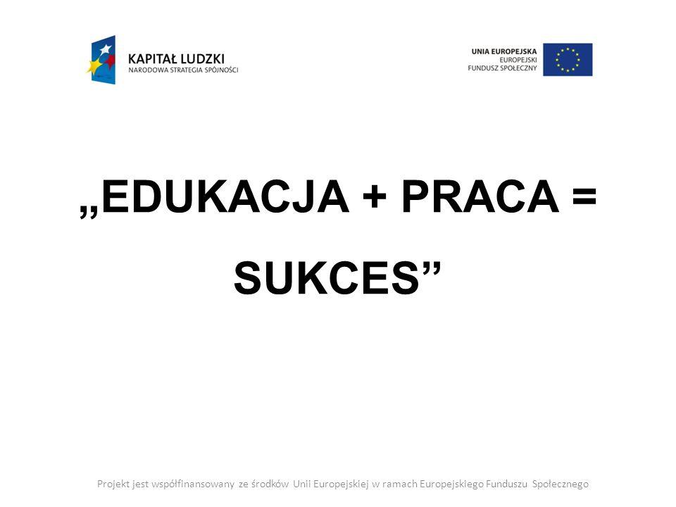 """""""EDUKACJA + PRACA = SUKCES"""