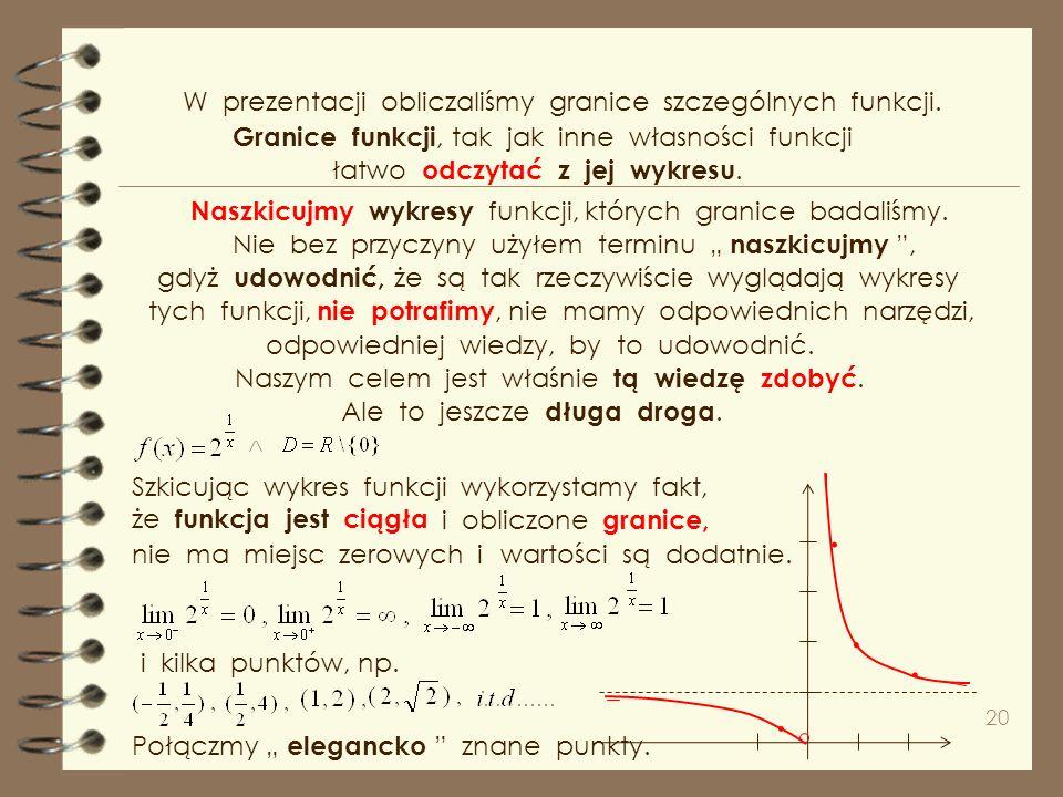 . . . . W prezentacji obliczaliśmy granice szczególnych funkcji.