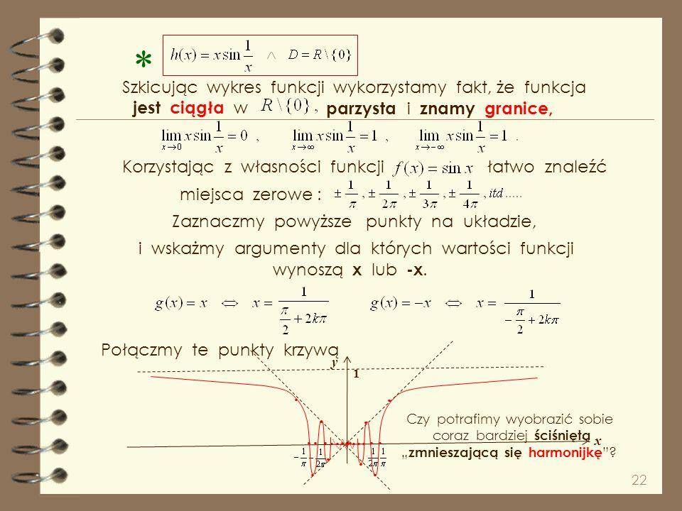 * . Szkicując wykres funkcji wykorzystamy fakt, że funkcja