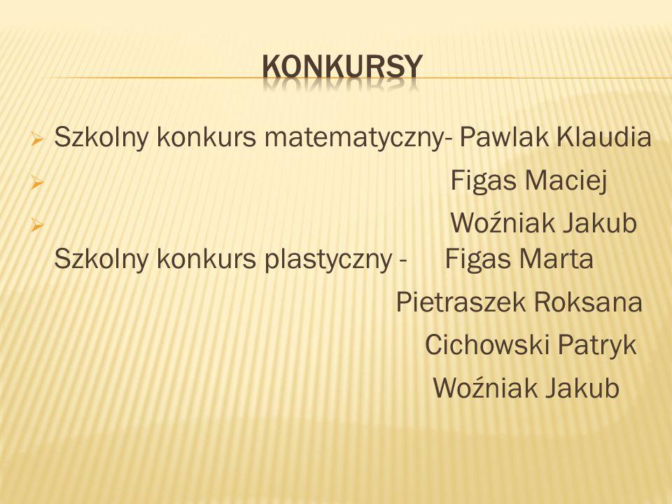 KONKURSY Szkolny konkurs matematyczny- Pawlak Klaudia Figas Maciej