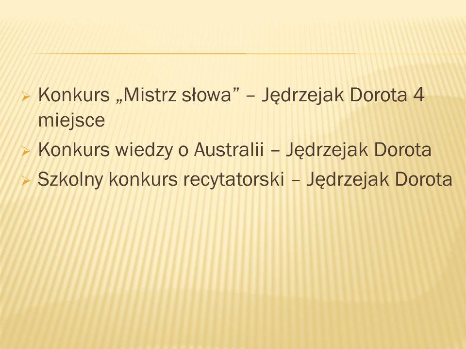 """Konkurs """"Mistrz słowa – Jędrzejak Dorota 4 miejsce"""