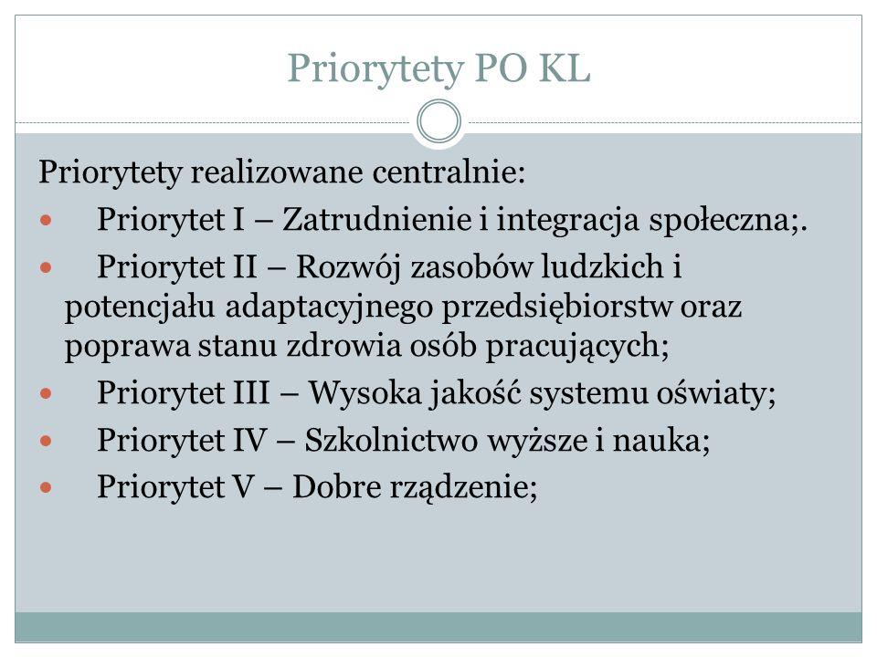 Priorytety PO KL Priorytety realizowane centralnie: