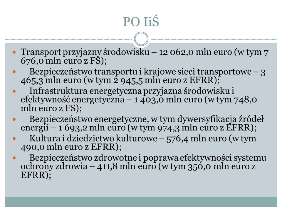 PO IiŚ Transport przyjazny środowisku – 12 062,0 mln euro (w tym 7 676,0 mln euro z FS);