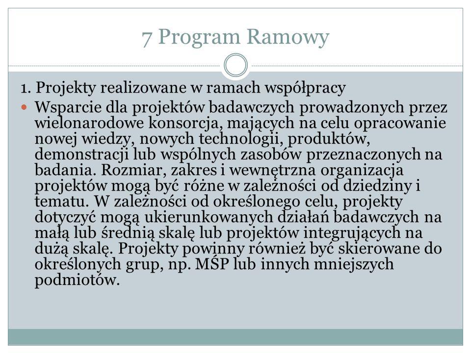 7 Program Ramowy 1. Projekty realizowane w ramach współpracy