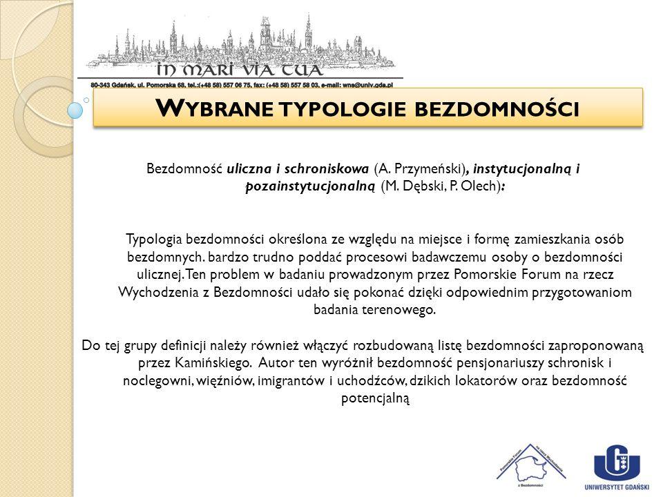 Wybrane typologie bezdomności