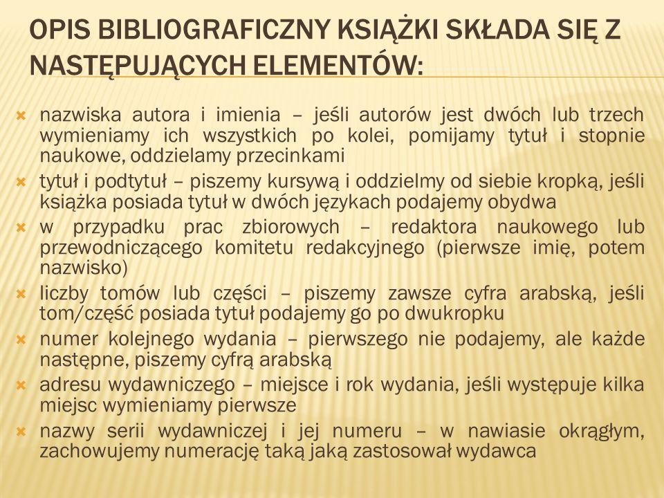 Opis bibliograficzny książki składa się z następujących elementów: