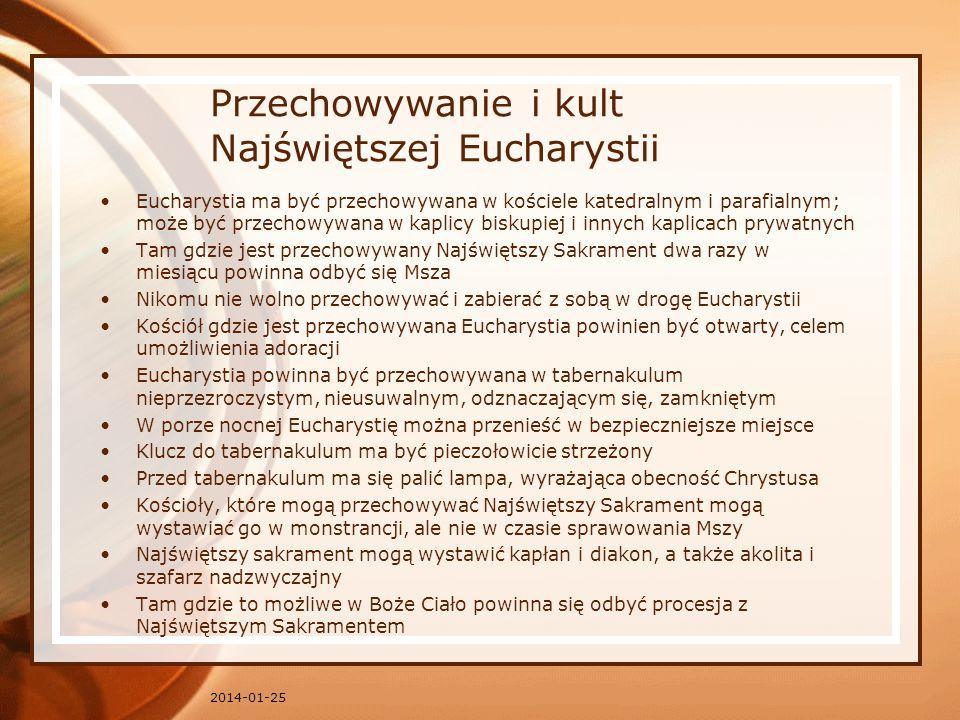 Przechowywanie i kult Najświętszej Eucharystii