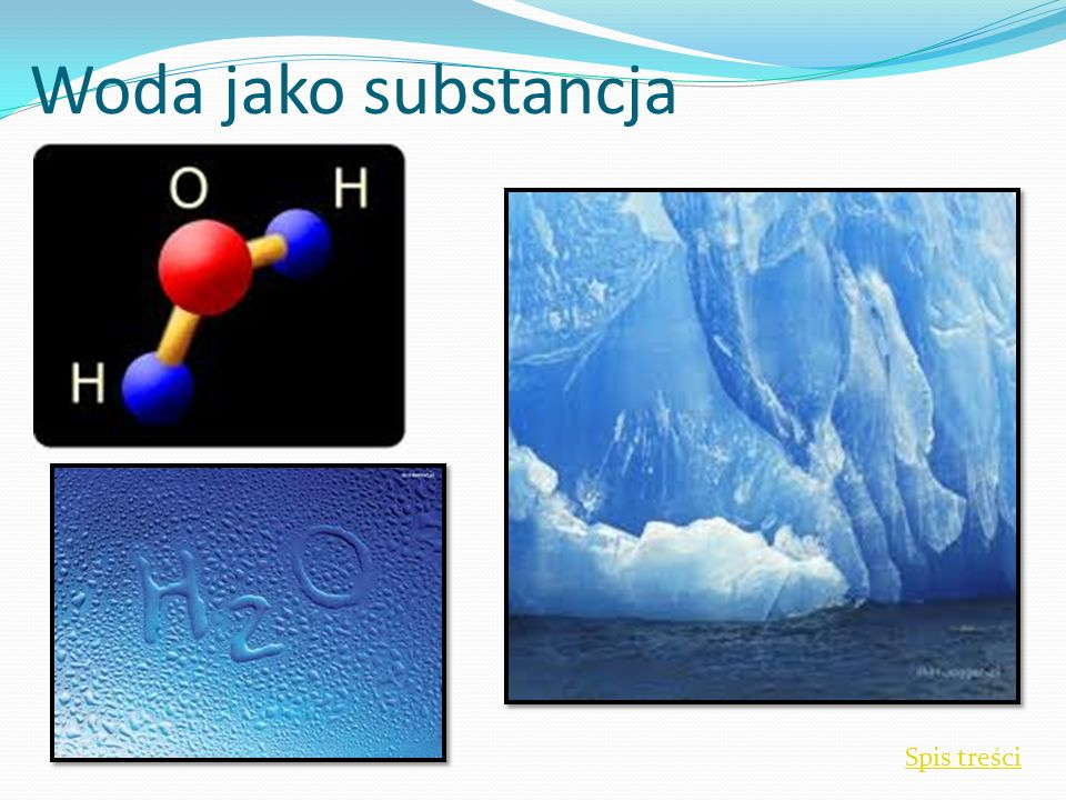 Woda jako substancja WODA Spis treści