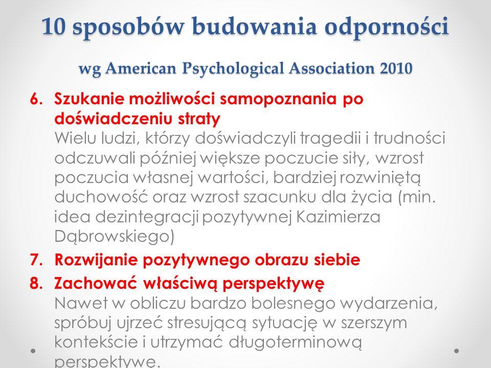 10 sposobów budowania odporności wg American Psychological Association 2010