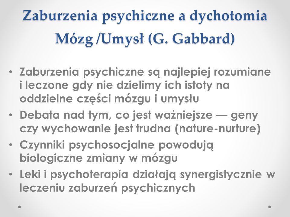 Zaburzenia psychiczne a dychotomia Mózg /Umysł (G. Gabbard)