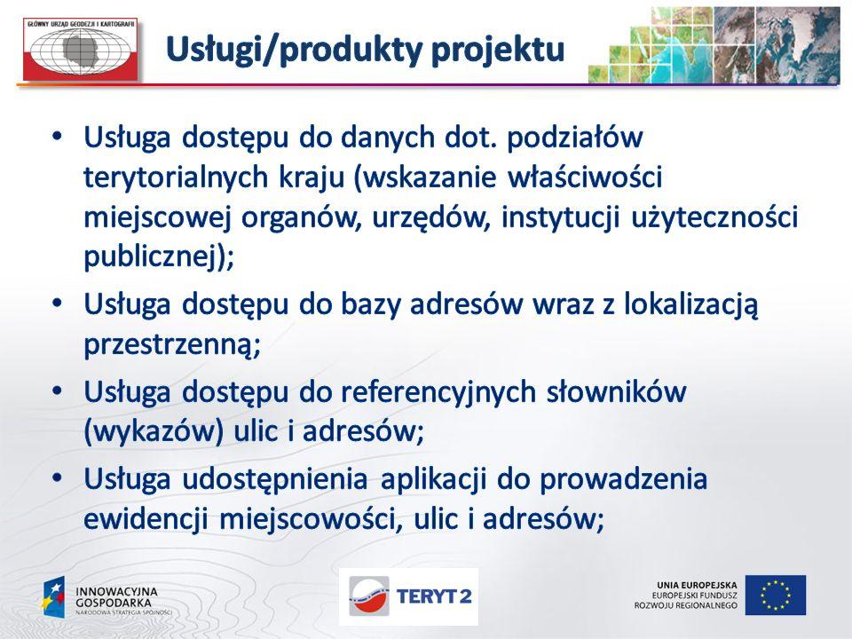 Usługi/produkty projektu