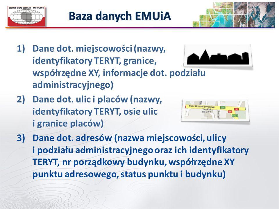 Baza danych EMUiA Dane dot. miejscowości (nazwy, identyfikatory TERYT, granice, współrzędne XY, informacje dot. podziału administracyjnego)