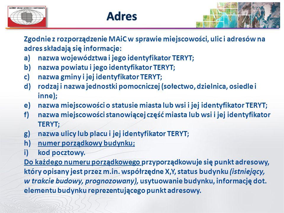 Adres Zgodnie z rozporządzenie MAiC w sprawie miejscowości, ulic i adresów na adres składają się informacje: