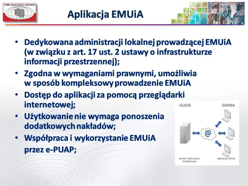 Aplikacja EMUiA Dedykowana administracji lokalnej prowadzącej EMUiA (w związku z art. 17 ust. 2 ustawy o infrastrukturze informacji przestrzennej);