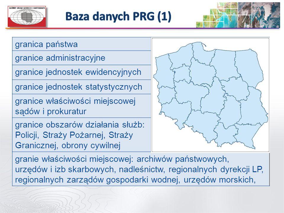 Baza danych PRG (1) granica państwa granice administracyjne