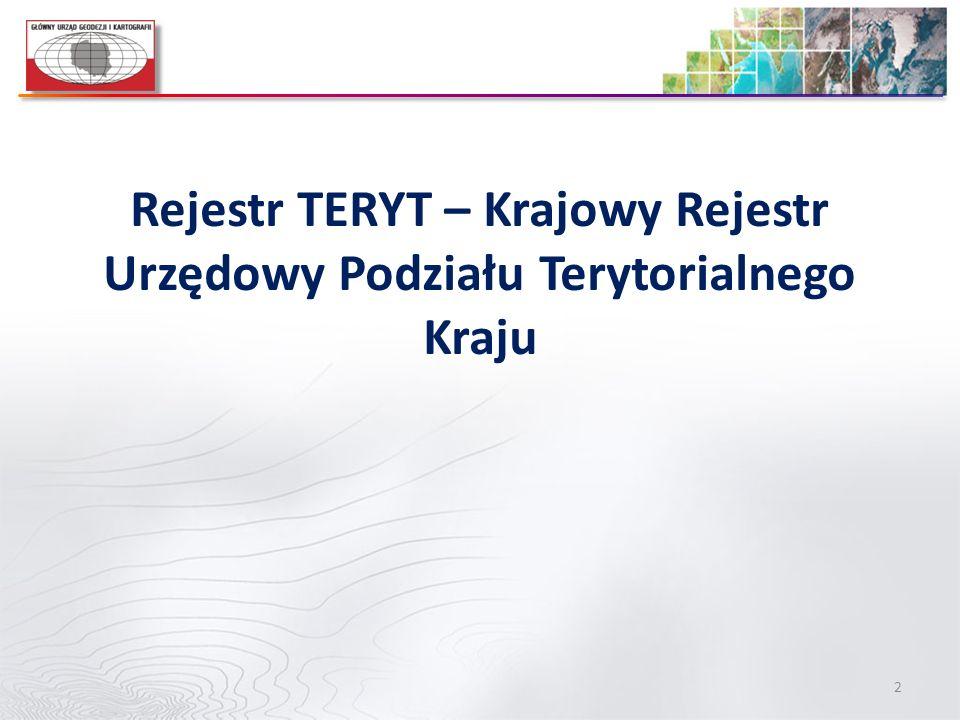 Rejestr TERYT – Krajowy Rejestr Urzędowy Podziału Terytorialnego Kraju