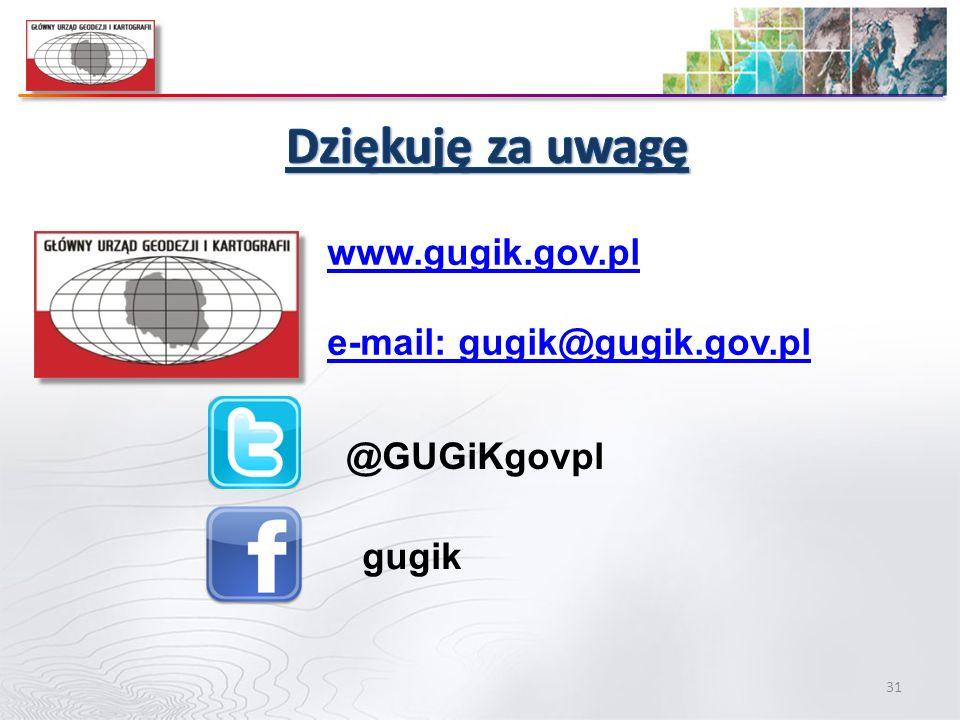 Dziękuję za uwagę www.gugik.gov.pl e-mail: gugik@gugik.gov.pl
