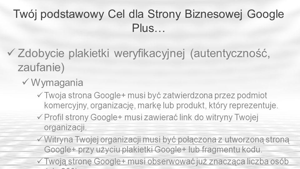Twój podstawowy Cel dla Strony Biznesowej Google Plus…