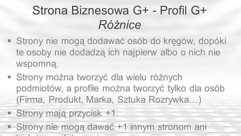 Strona Biznesowa G+ - Profil G+