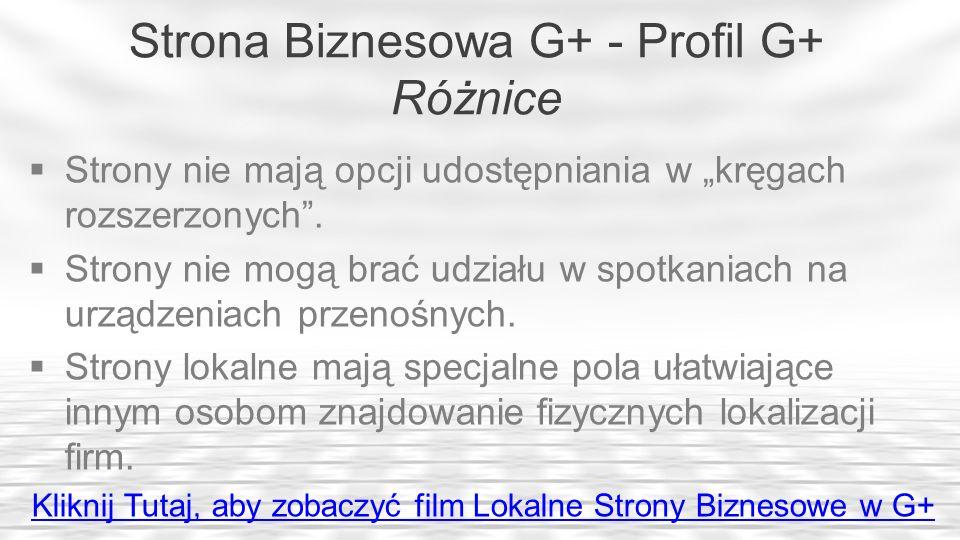 Strona Biznesowa G+ - Profil G+ Różnice