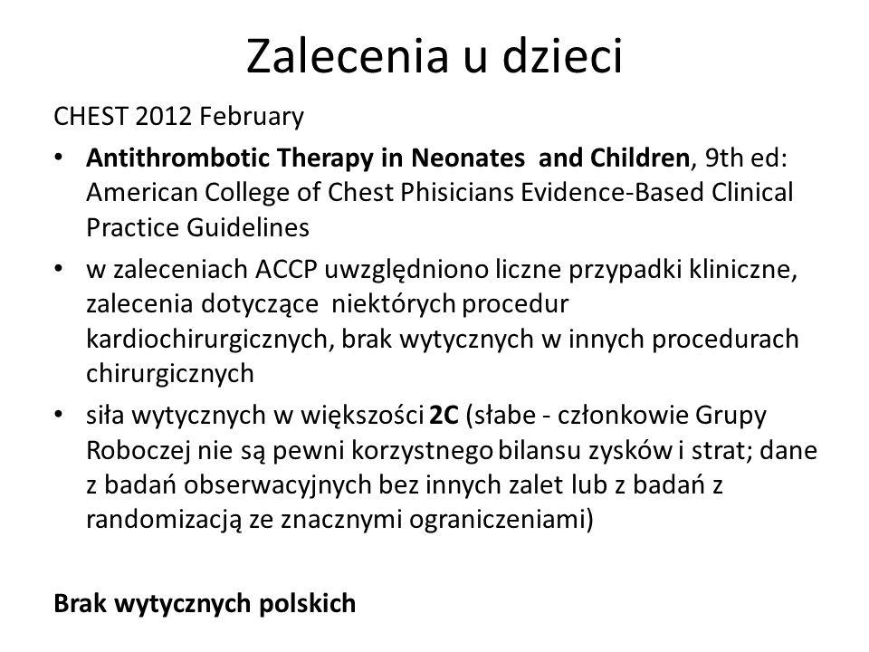 Zalecenia u dzieci CHEST 2012 February