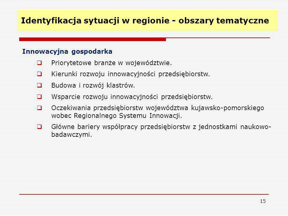 Identyfikacja sytuacji w regionie - obszary tematyczne