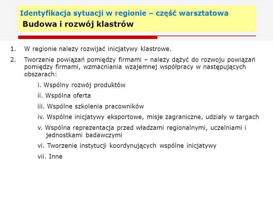 Identyfikacja sytuacji w regionie – część warsztatowa Budowa i rozwój klastrów