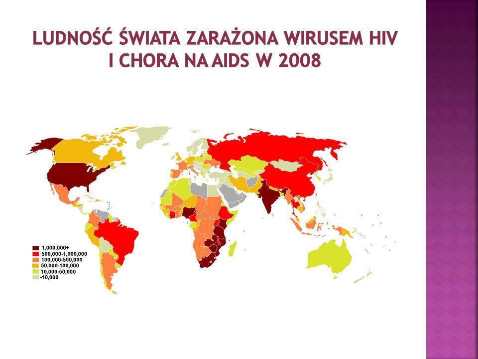 Ludność świata zarażona wirusem hiv i chora na aids w 2008