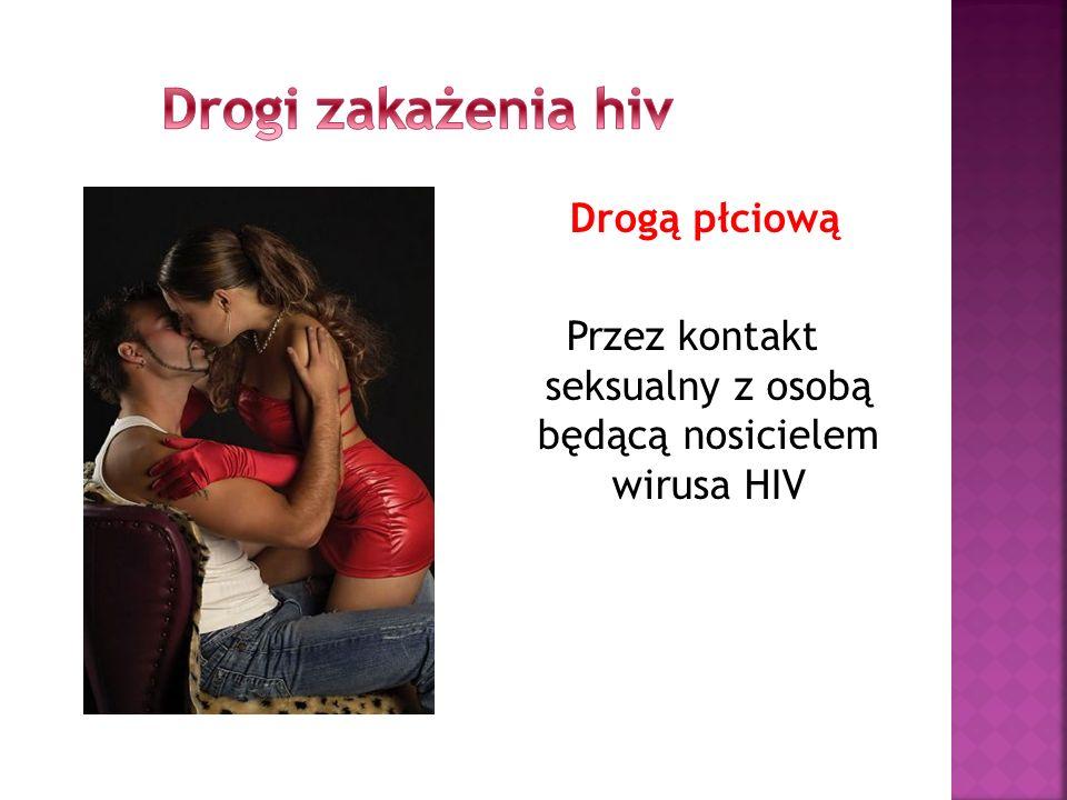 Drogi zakażenia hiv Drogą płciową Przez kontakt seksualny z osobą będącą nosicielem wirusa HIV