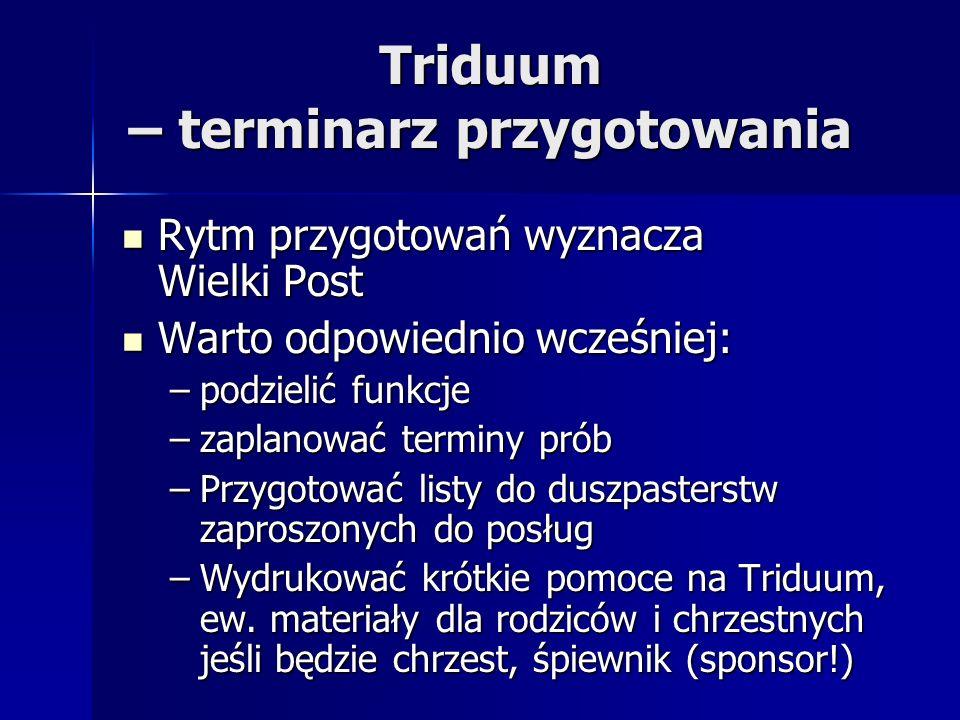 Triduum – terminarz przygotowania