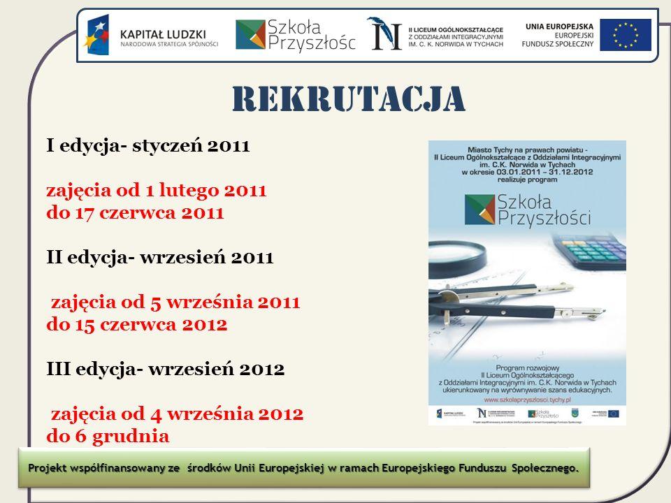 REKRUTACJA I edycja- styczeń 2011 zajęcia od 1 lutego 2011
