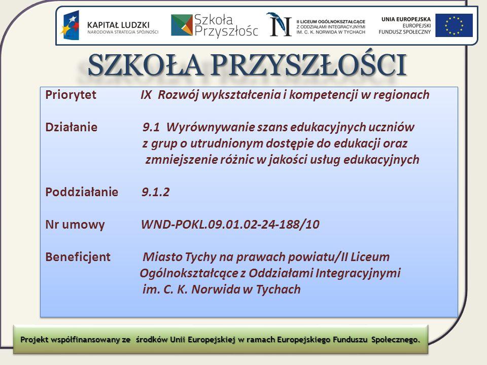SZKOŁA PRZYSZŁOŚCI Priorytet IX Rozwój wykształcenia i kompetencji w regionach.