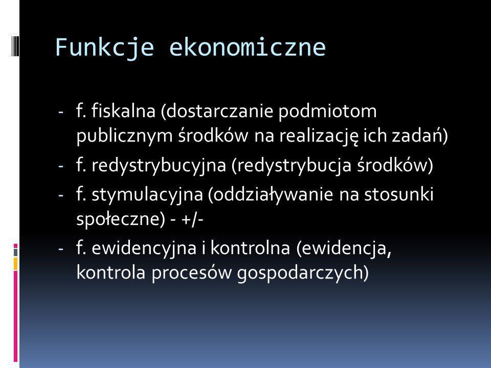 Funkcje ekonomiczne f. fiskalna (dostarczanie podmiotom publicznym środków na realizację ich zadań)