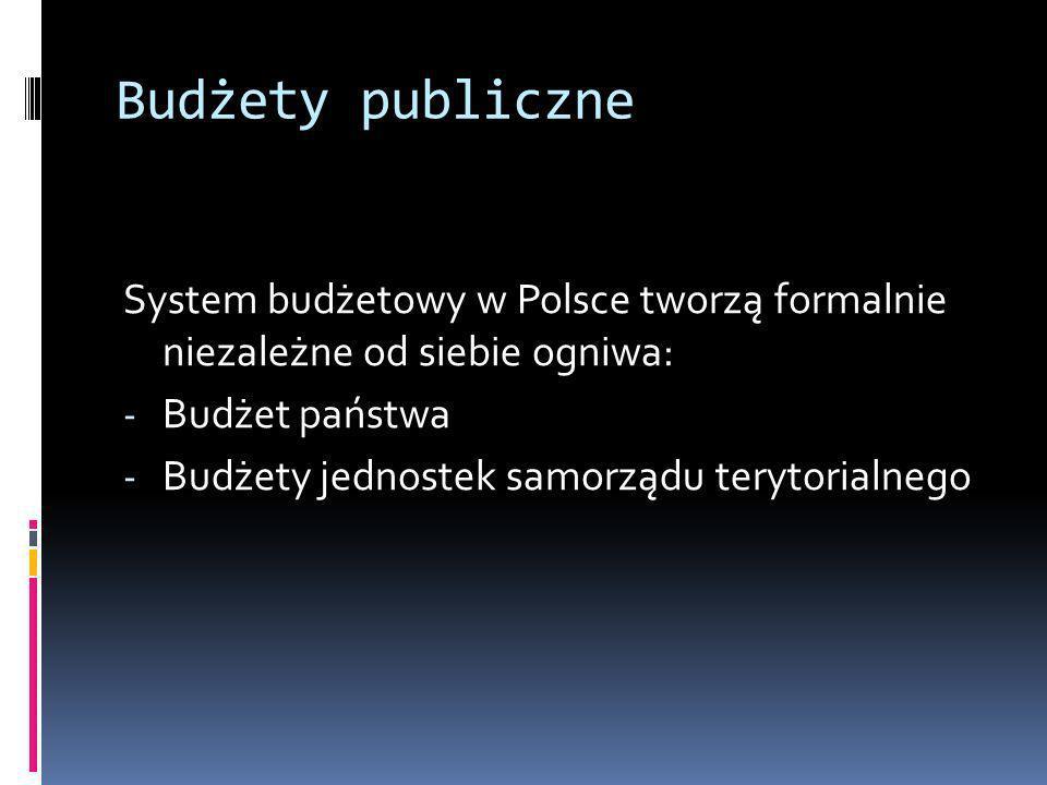 Budżety publiczne System budżetowy w Polsce tworzą formalnie niezależne od siebie ogniwa: Budżet państwa.