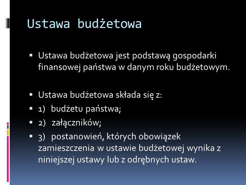 Ustawa budżetowaUstawa budżetowa jest podstawą gospodarki finansowej państwa w danym roku budżetowym.