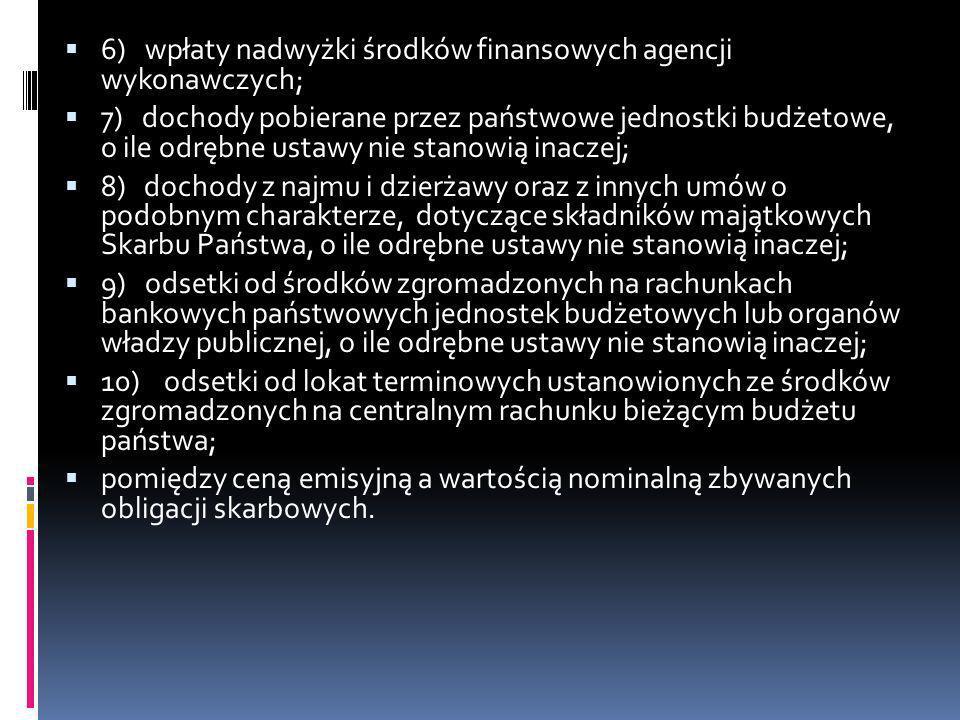 6) wpłaty nadwyżki środków finansowych agencji wykonawczych;