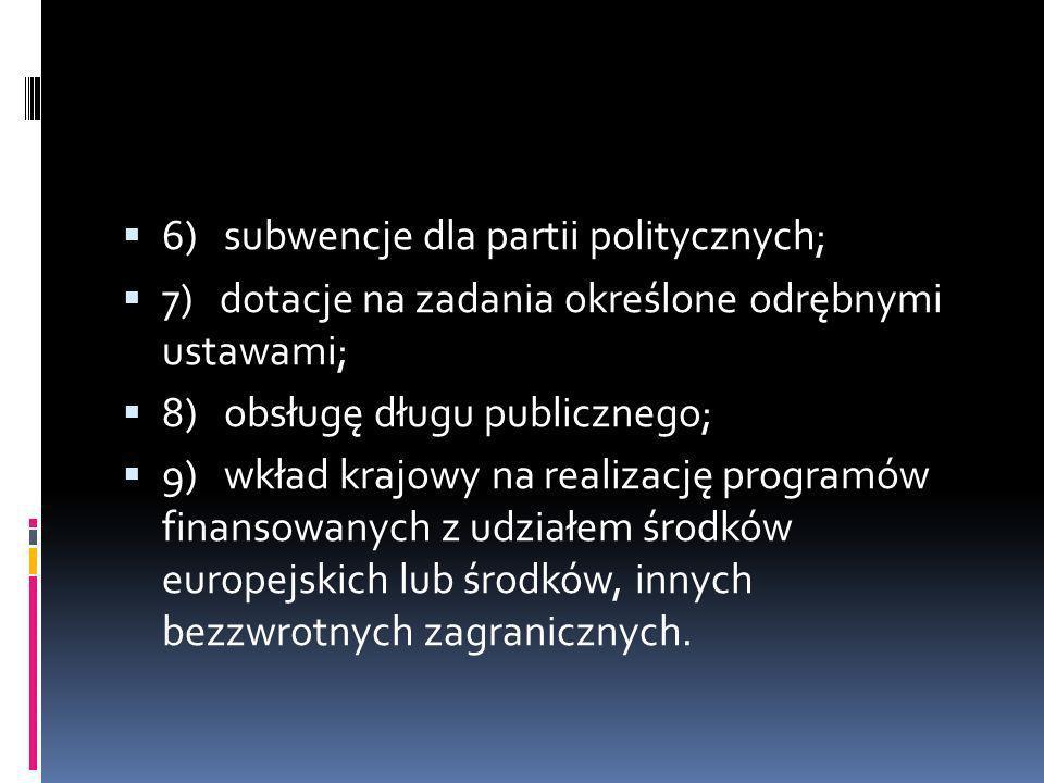 6) subwencje dla partii politycznych;