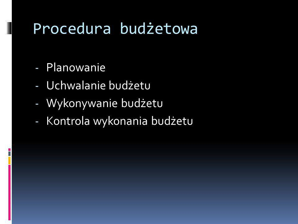 Procedura budżetowa Planowanie Uchwalanie budżetu Wykonywanie budżetu